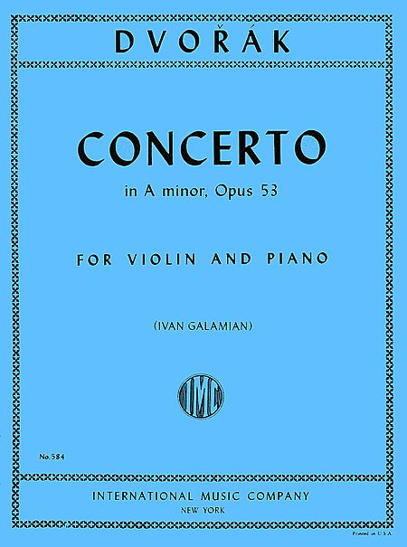 Dvorak Concerto in A for Violin, Op. 53 - International Ed.