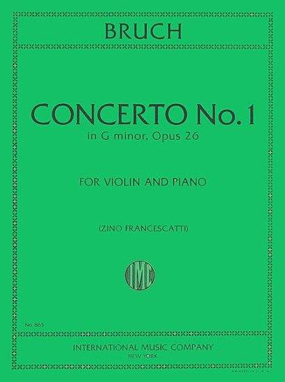 Bruch Concerto No. 1 for Violin in G Minor - International Ed.