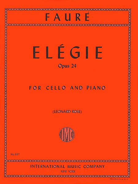 Faure Elegie for Cello, Opus 24 - International Ed.