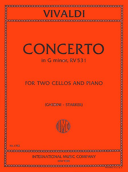 Vivaldi Concerto in G minor for Two Cellos and Piano, RV 531 - International Ed.
