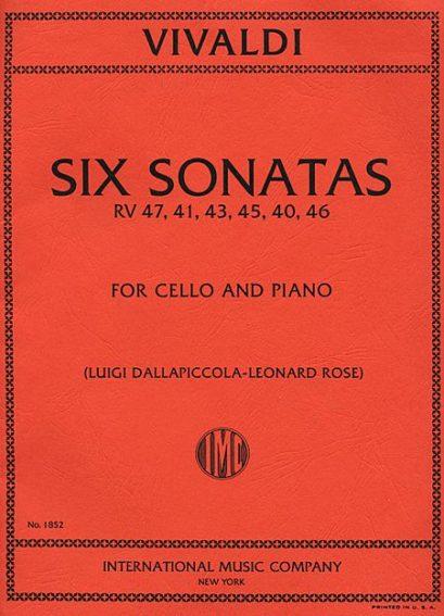 Vivaldi Six Sonatas for Cello RV 47, 41, 43, 45, 40, 46 – International Ed.