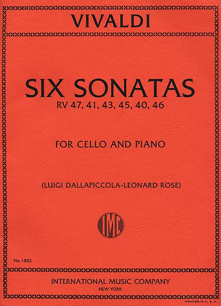 Vivaldi Six Sonatas for Cello RV 47, 41, 43, 45, 40, 46 - International Ed.