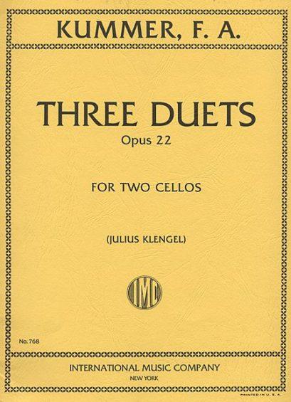 Kummer Three Duets for 2 Cellos, Op. 22 – International Ed.