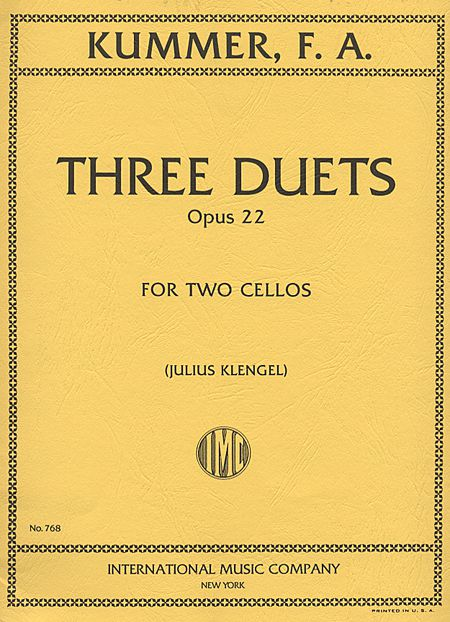 Kummer Three Duets for 2 Cellos, Op. 22 - International Ed.
