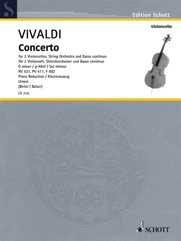 Vivaldi Concerto in G minor for Two Cellos and Piano, RV 531 – Schott Ed.