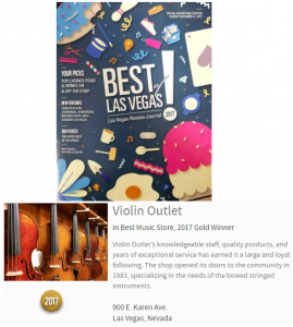 Violin Outlet Voted Best of Las Vegas Music Store 2017