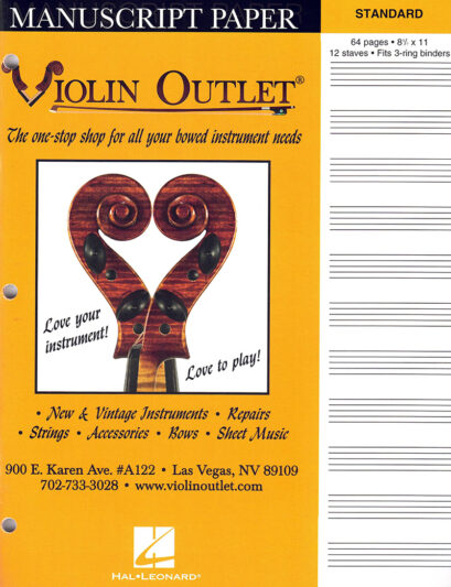 Violin Outlet Manuscript Paper 8.5X11